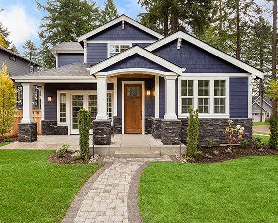 suburban house with blue siding, landscape, white columns and wooden brown door